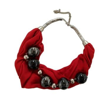 2 x BEAUTIFUL RED FABRIC NECKLACE with GLISTENING BEADS fashion jewellery